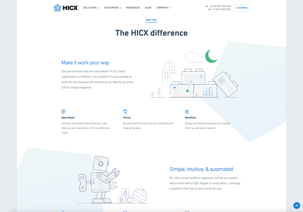 Internal page layout - HICX Solutions composition element