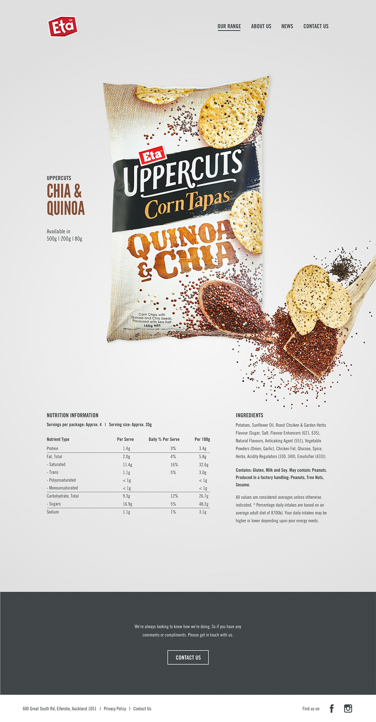 ETA Quinoa Product Page - ETA composition element