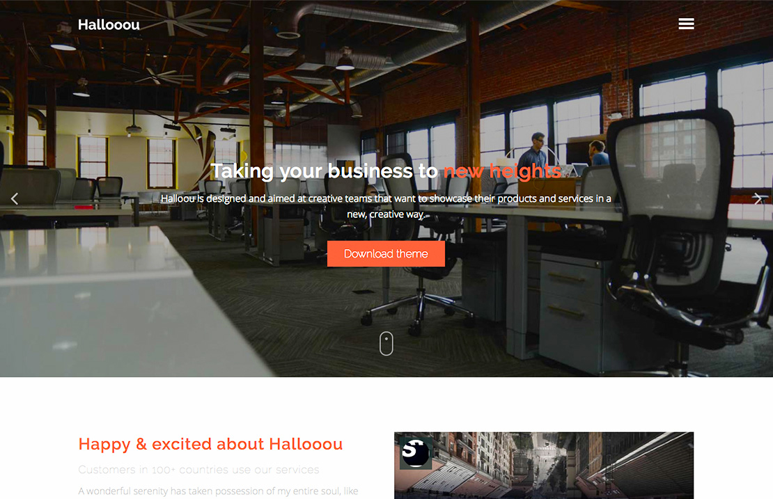 Hallooou - Free One page HTML5 responsive template screenshot