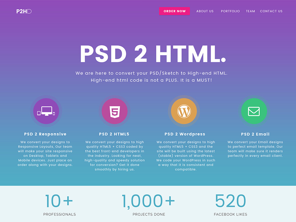 PSD2HTML Developer screenshot