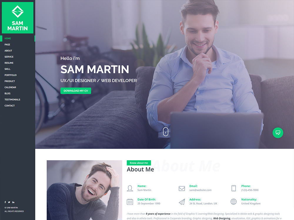 Buy The Sam Martin - Personal vCard Resume WordPress Theme | $79.00 screenshot