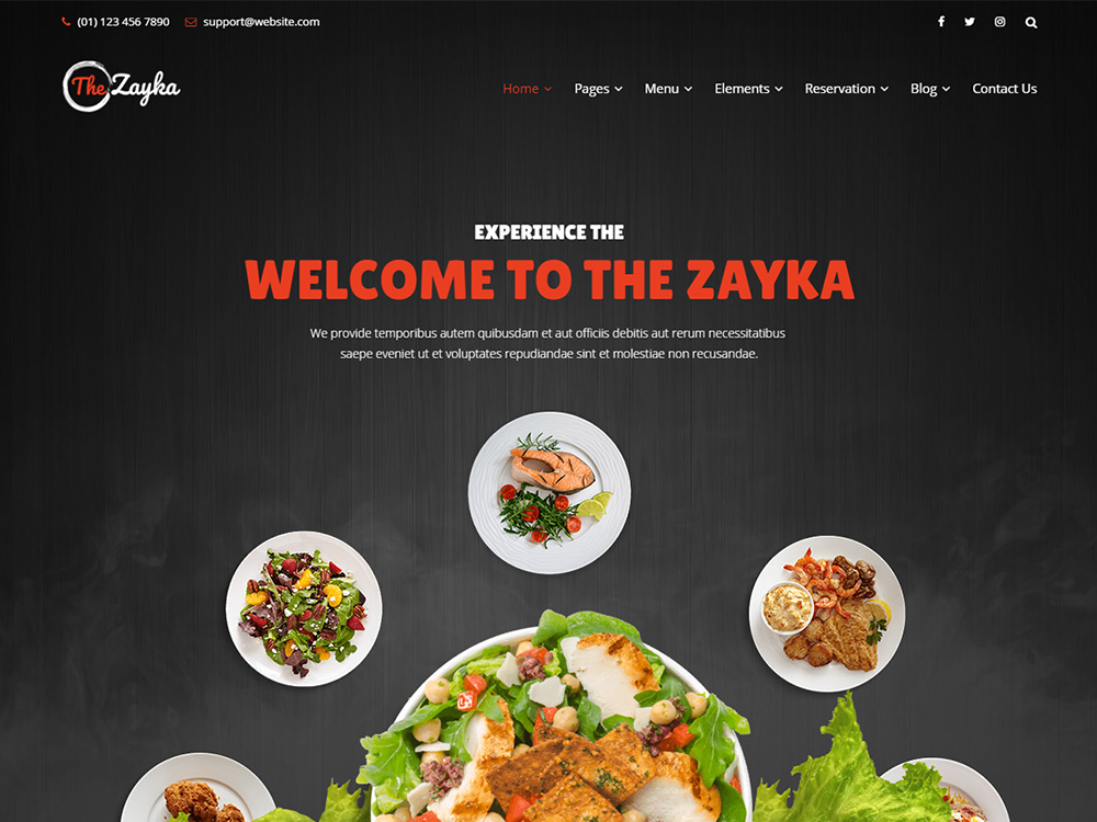 The Zayka Multipurpose Restaurant & Cafe HTML5 Template screenshot