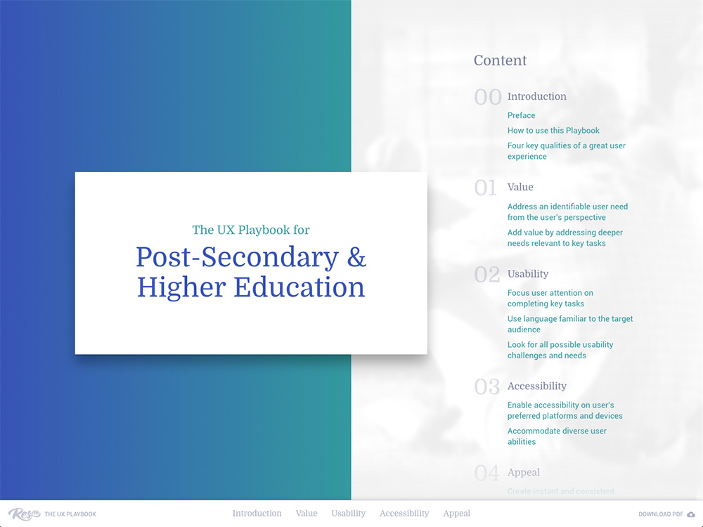 The UX Playbook for Post-Secondary & Higher Education screenshot