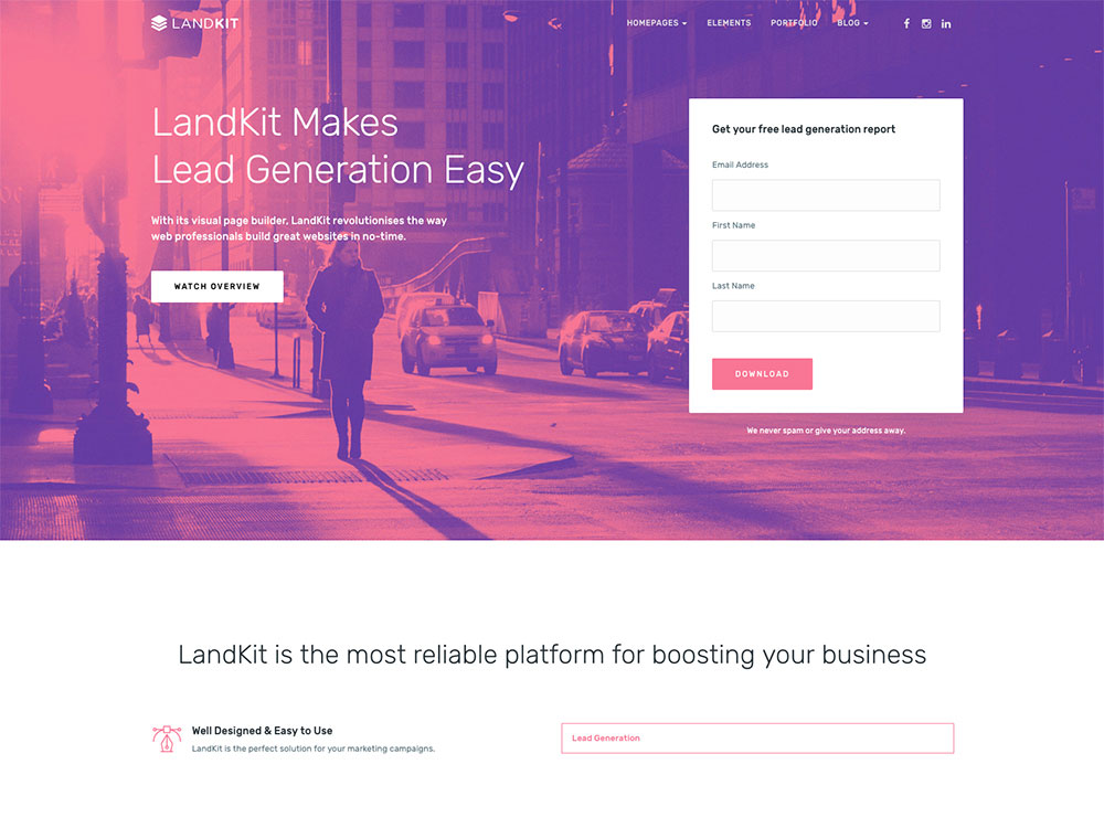 Landkit - WordPress Landing Page Theme screenshot