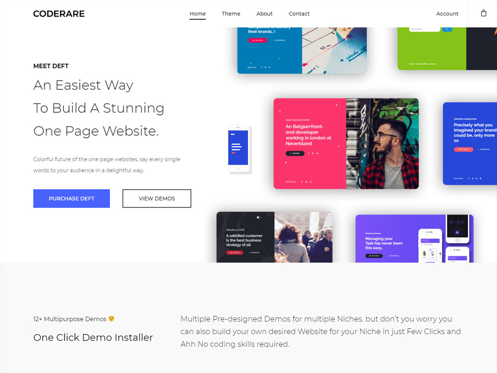 Deft One Page WordPress Theme screenshot