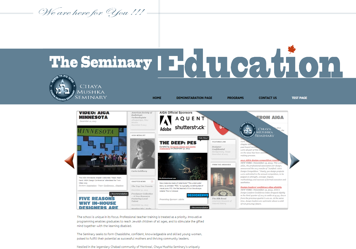 The Seminary website design  Part two · Maxim Aginsky's log